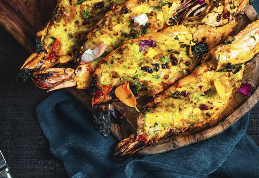 Gamberoni farciti al curry