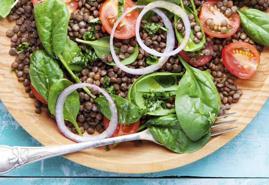 Insalata di lenticchie e spinacini