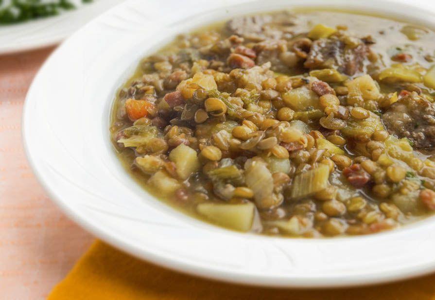 Minestra di lenticchie e pancetta