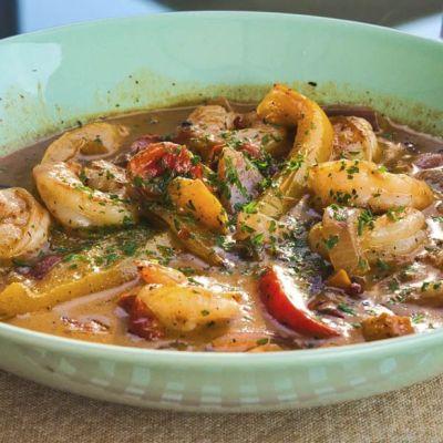Gamberi al curry e peperoni