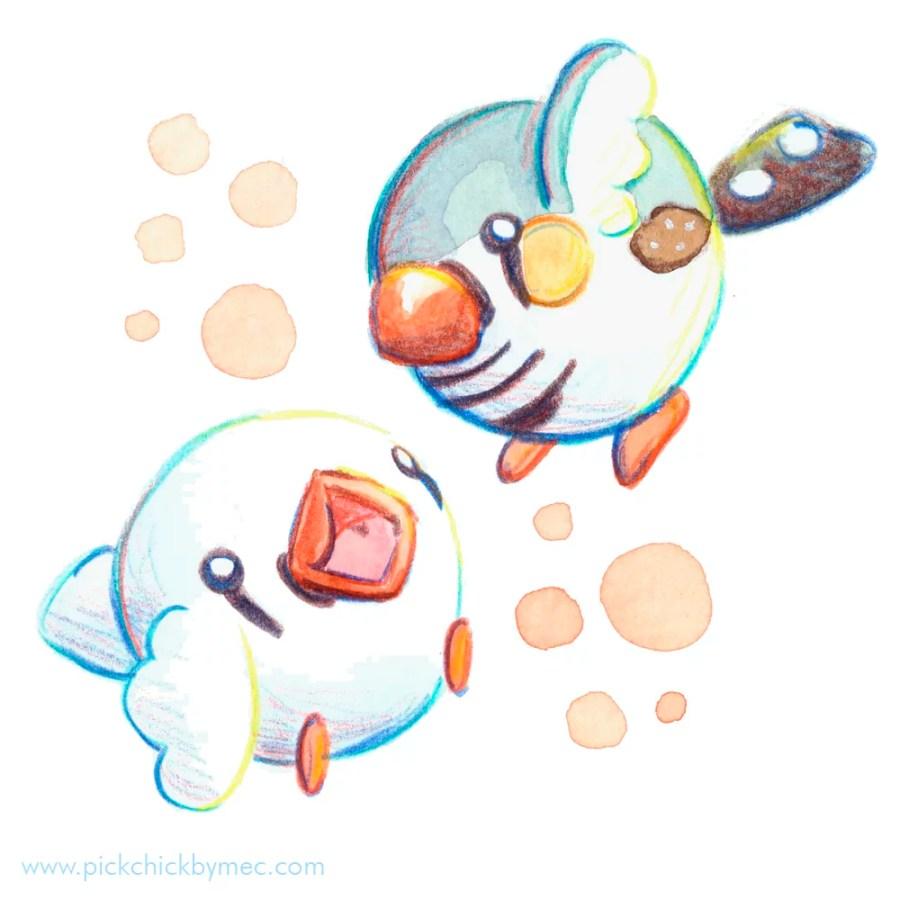 Diamantes mandarines acuarela ilustracion kawaii