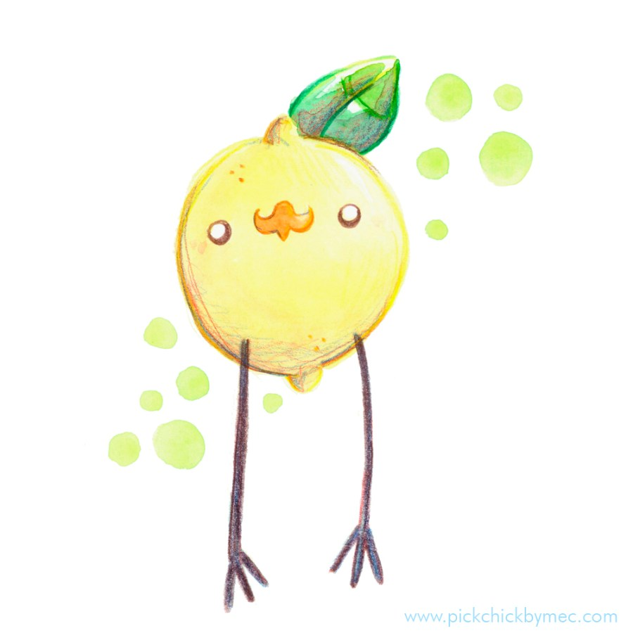 Pollito Limon ilustracion acuarela kawaii