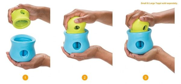 Zogoflex dog toy photo is misleading because it shows both the small and large toy