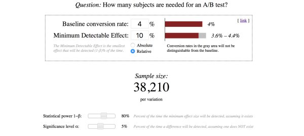 Screenshot to help you determine how many subjects are needed for Shopify A/B testing