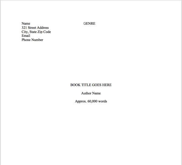 How to Write a Book in Word - Manuscript title page