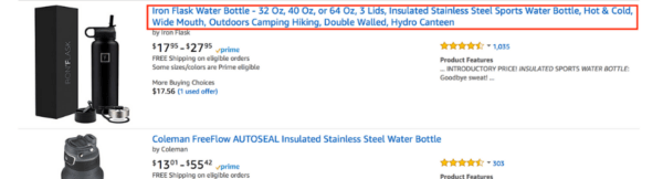 Improve your Amazon title - water bottle example