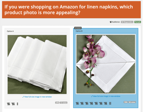 How to conduct e-commerce website testing: PickFu poll comparing linen napkins