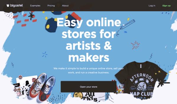 Big Cartel vs. Shopify: Screenshot of Big Cartel homepage