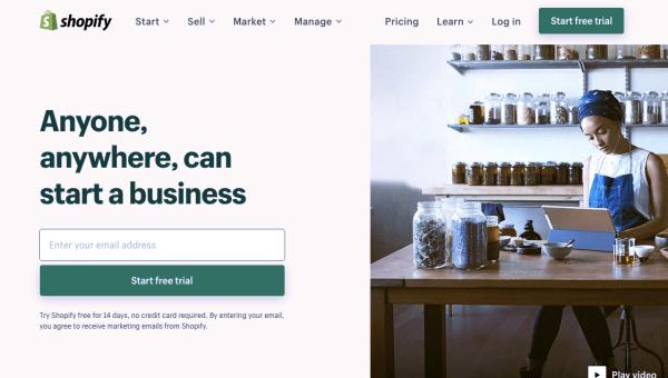 Big Cartel vs. Shopify: Screenshot of Shopify's homepage