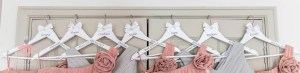 Bridesmaids dresses ready hung up