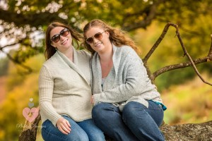 Sisters in an autum woodland. Shot by swindon wedding photographer, pickin images photography