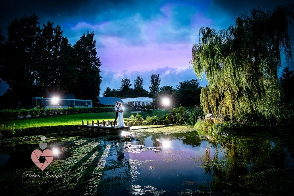 Bride & Groom at the lake sunset in Bristol. Pickin Images Photography