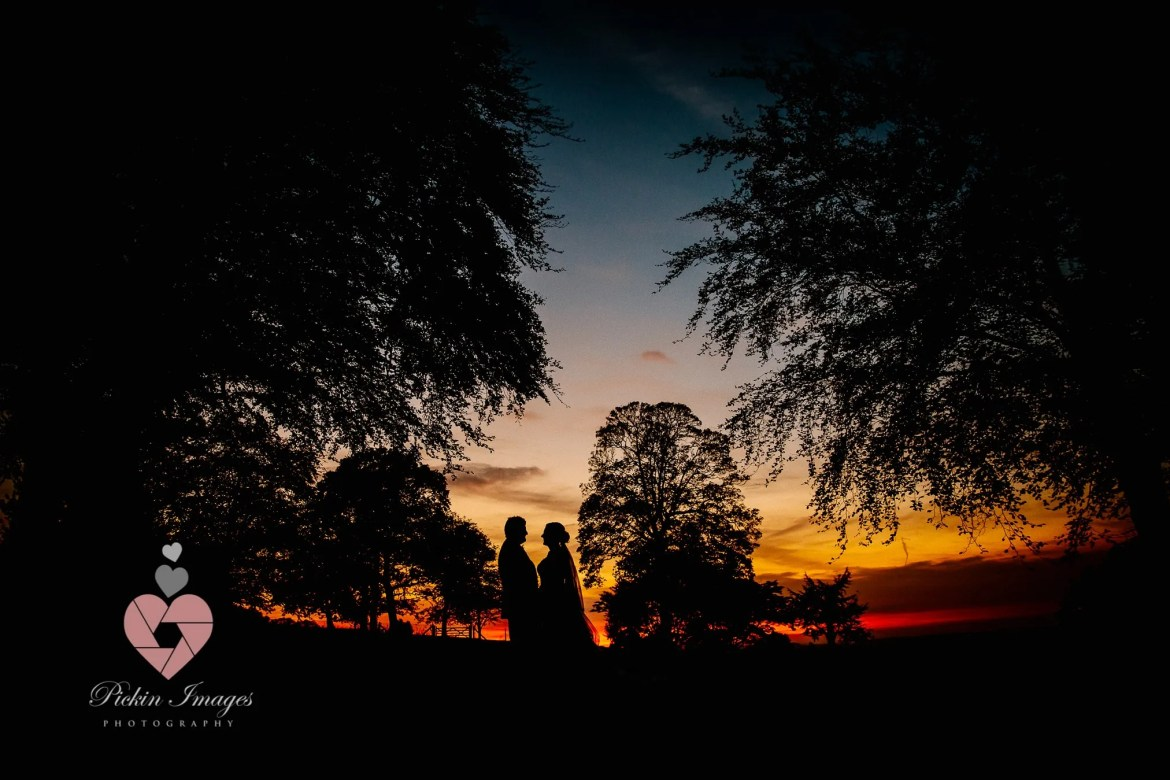 Sunset too good to miss for the Bride and Groom. Coombe Lodge wedding venue in autumn Pickin Images Photography