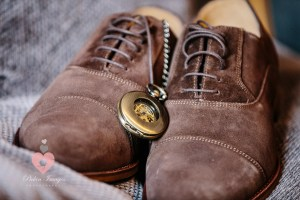 Grooms shoes and timepiece