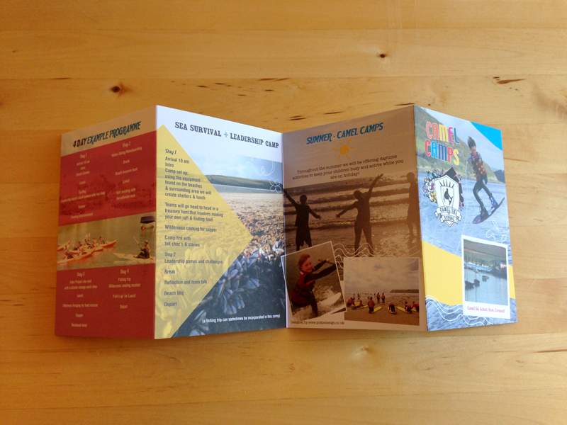 Concertina fold leaflet design for Camel Camps
