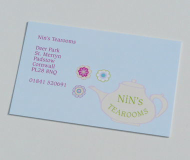 Nin's Tearooms' Business Card