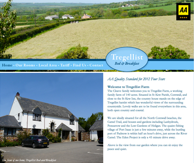 Tregellist B&B Website