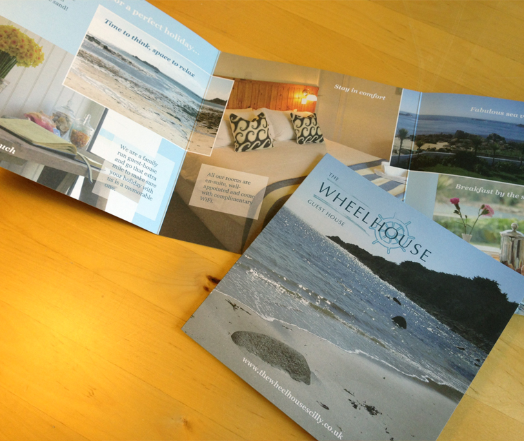 Roll fold leaflet design for The Wheelhouse Guesthouse
