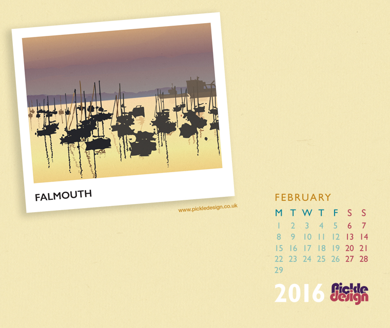 Pickle Design February calendar download of Falmouth, Cornwall