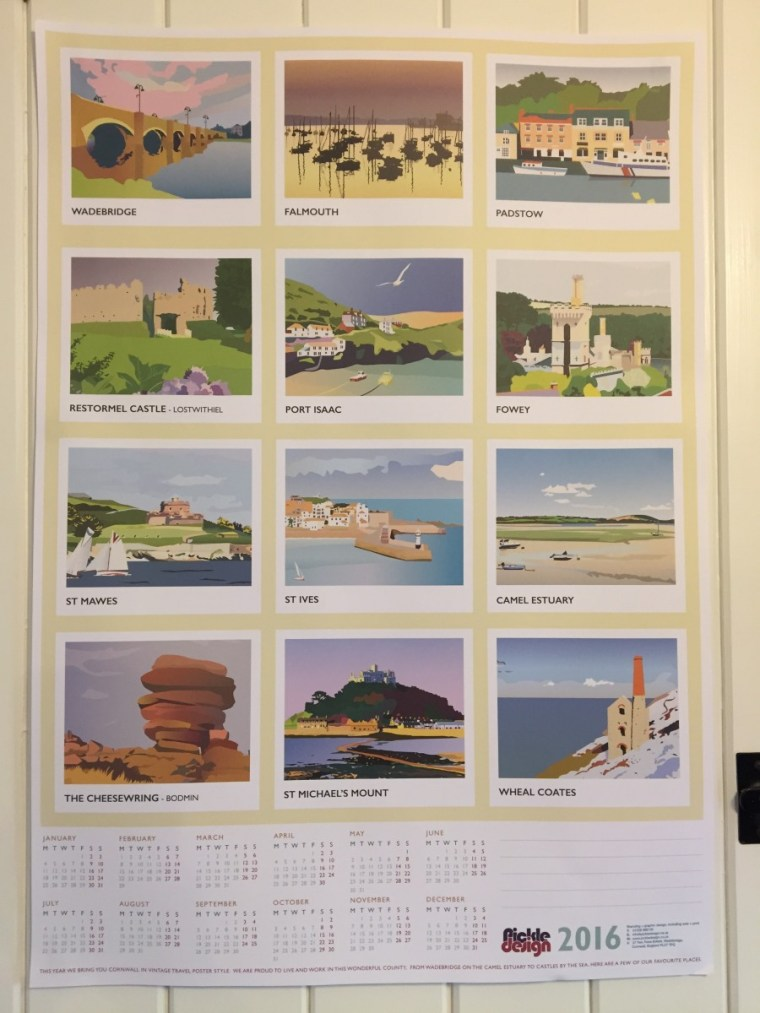 The A2 2016 Cornwall Calendar in a vintage travel poster style