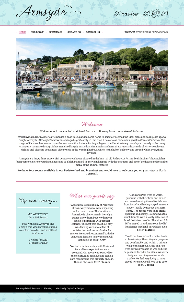 Website design for Amrsyde Bed and Breakfast in Padstow
