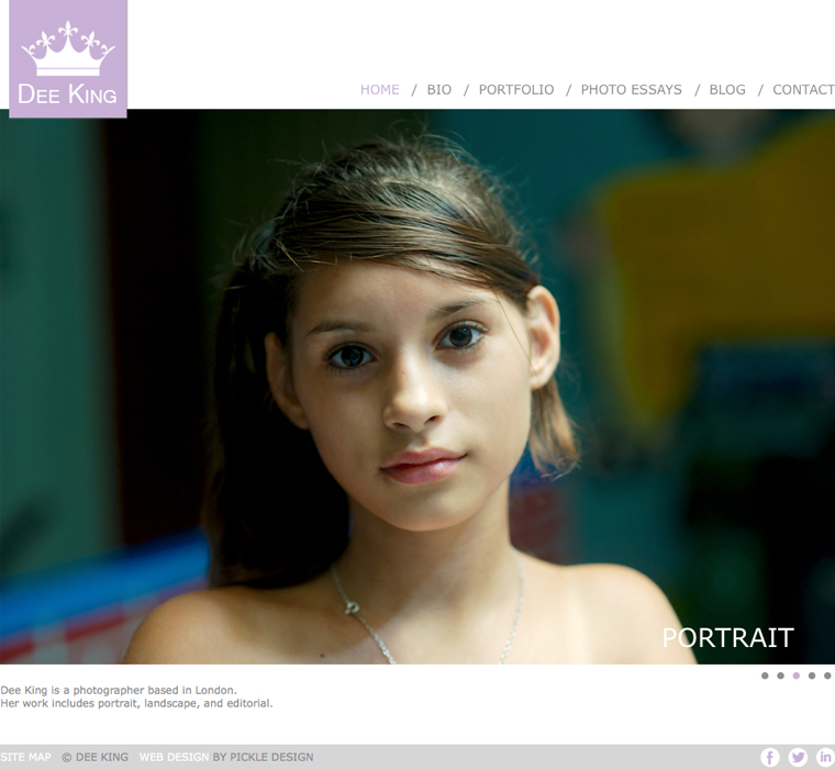 Website design for photographer, Dee King