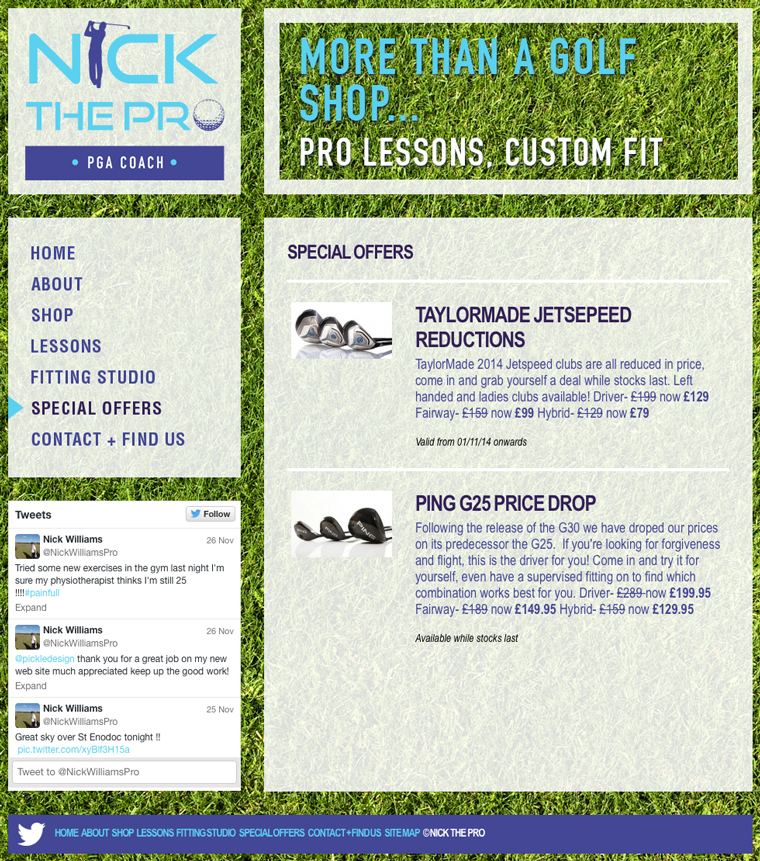 Website design for the Golf Shop at St Enodoc, Nick the Pro
