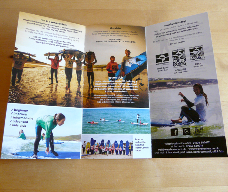 Centre spread of the Wavehunters Surf School leaflet