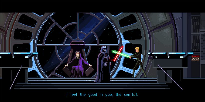 8 bit Star Wars: Return of the Jedi illustration by Gustavo Viselner