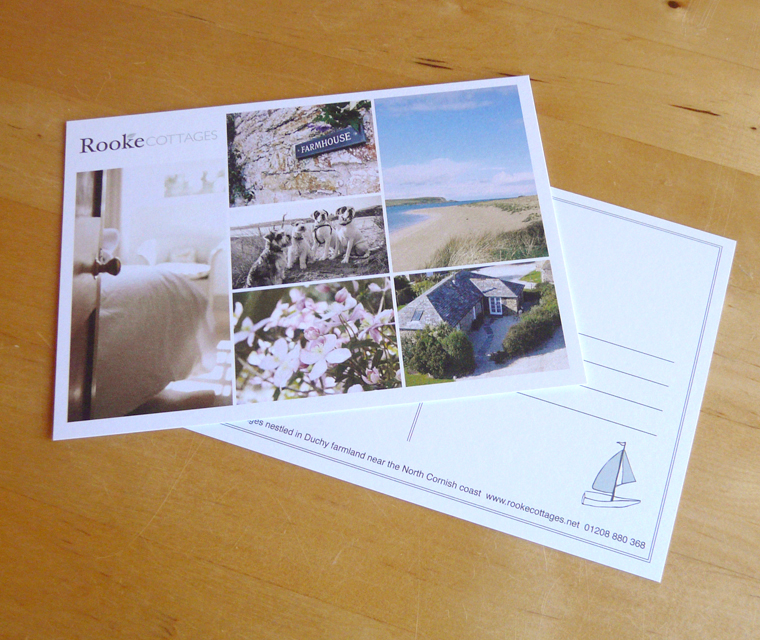 Postcard design for Rooke Cottages