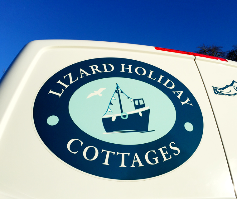 The logo design on the Lizard Holiday Cottages' vehicle graphics