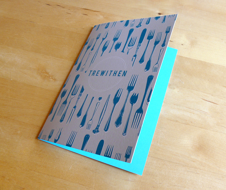 Bill holder design for Trewithen Restaurant