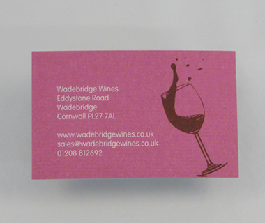 Reverse of the business card design for Wadebridge Wines