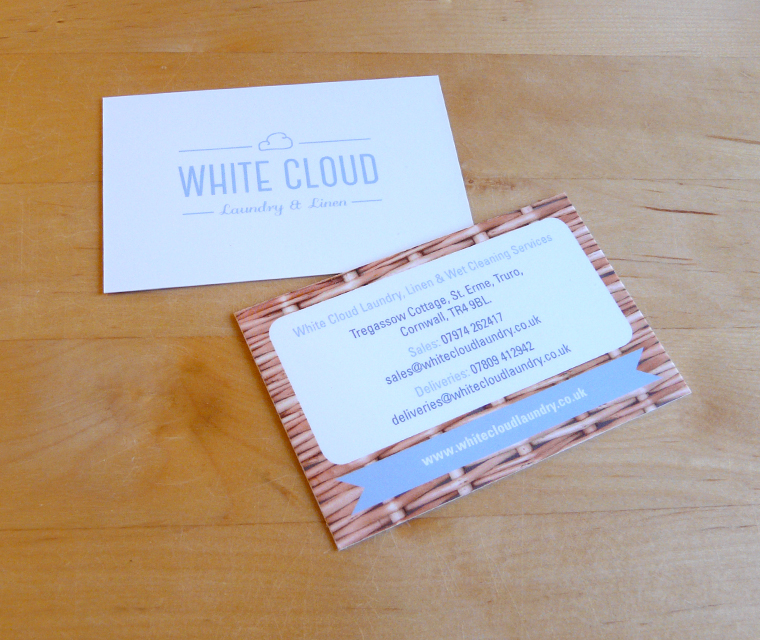 Business card design for White Cloud Laundry & Linen