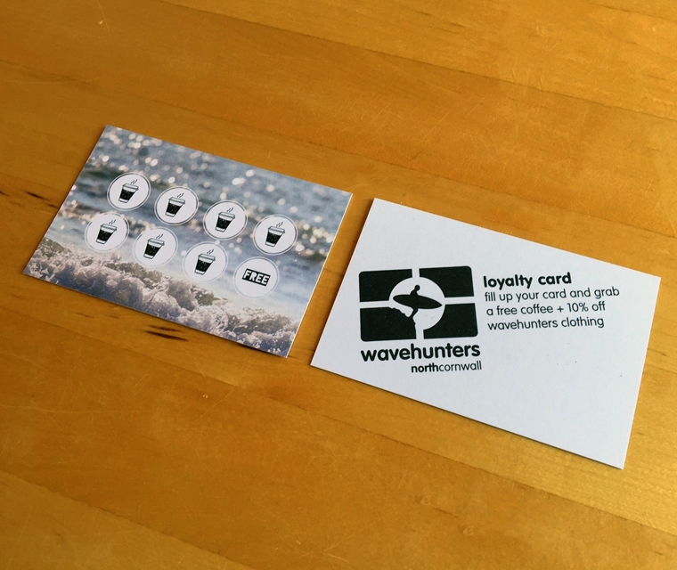 Loyalty card design for Wavehunters Surf School