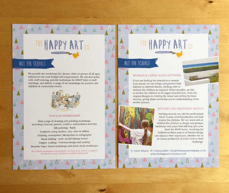 Leaflet design for The Happy Art Company