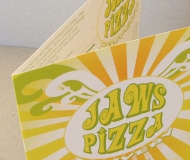 Menu design for Jaws Pizza Delivery