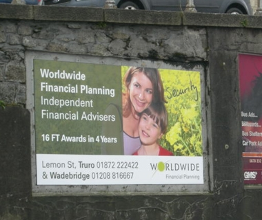 Truro billboard design for Worldwide Financial Planning