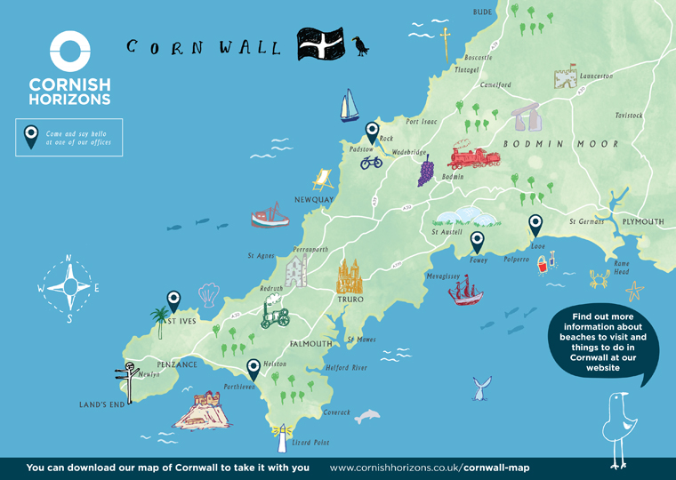 Hand illustrated map of Cornwall for Cornish Horizons