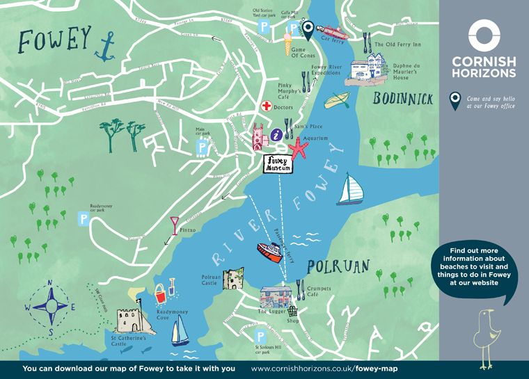 Hand illustrated map of Fowey
