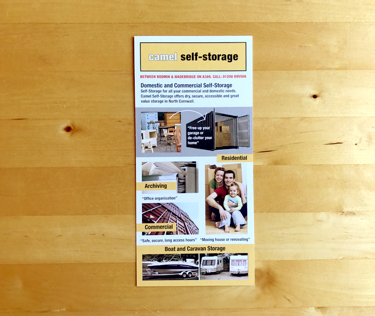 DL Leaflet designed for Camel Self Storage