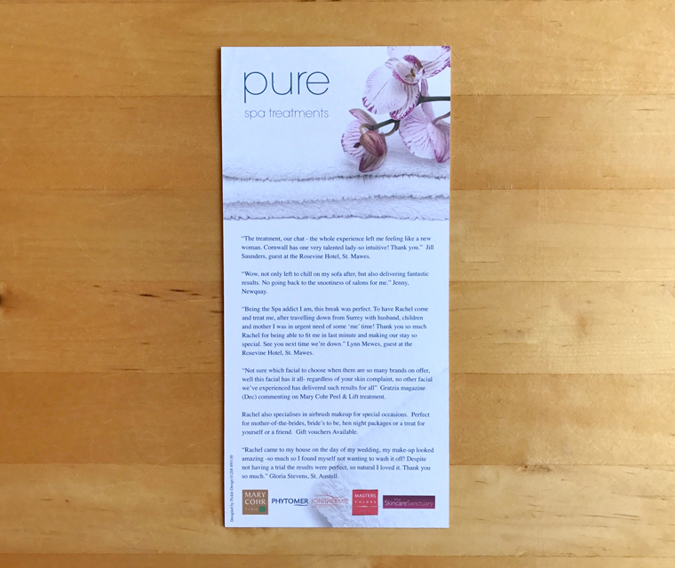 Pure Spa leaflet design