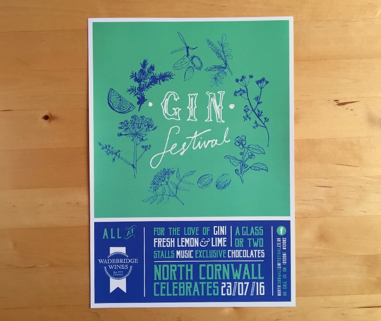 Wadebridge Wines Gin Festival poster by pickle design