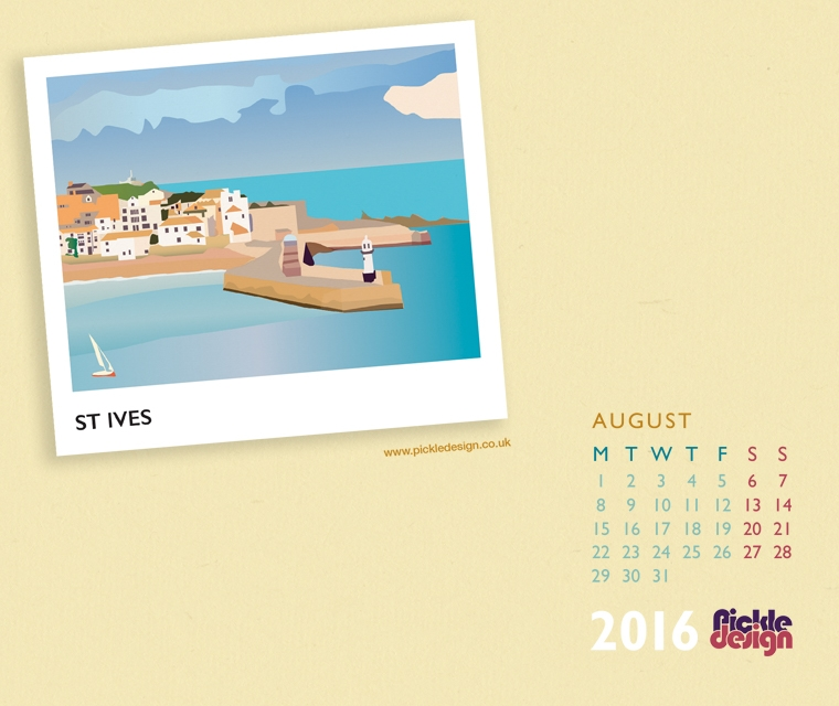 Pickle Design's calendar downloads of St Ives, Cornwall