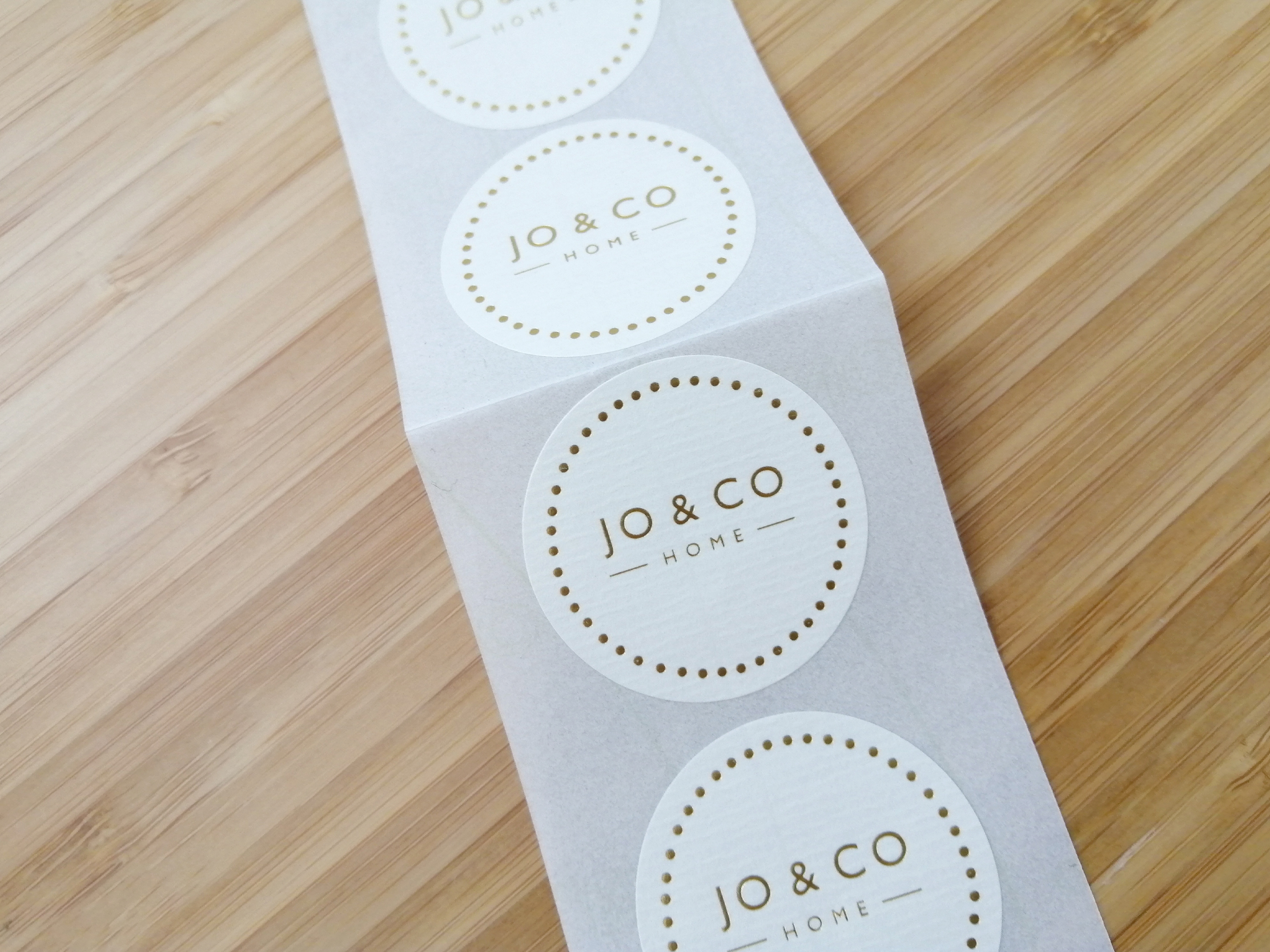 Jo & Co gold foil stickers