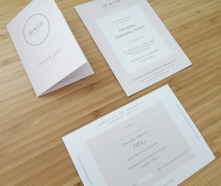 The receipt card, invite and voucher we created for Jo&Co