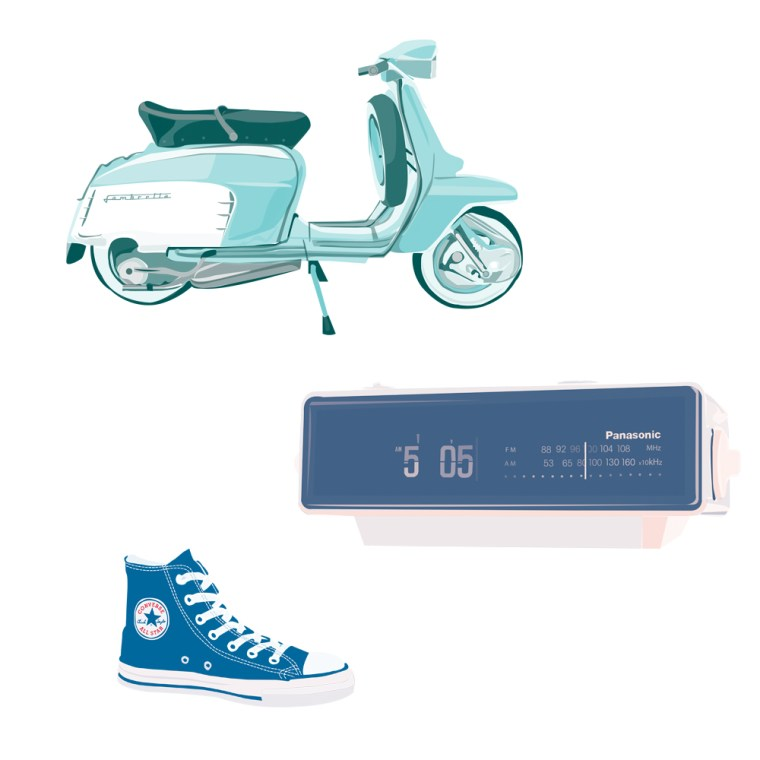 Pickle Design design classics the Lambretta scooter, Panassonic clock, and Converse trainer