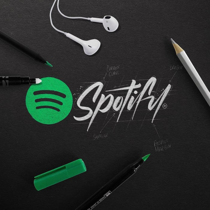 Hand typography of the Spotify logo