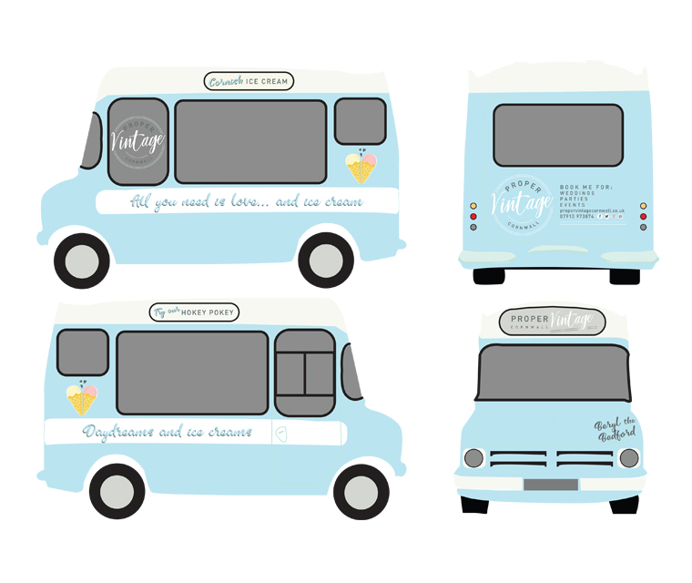 Proper Vintage Beryl the bedford ice-cream van design