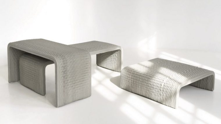3D printed concrete benches resemble woven textiles